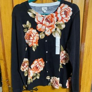 A New Day Flower cardigan large NWOT
